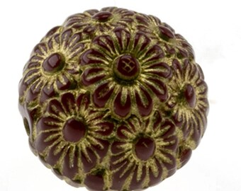 14mm Flower bead in marsala red 4Pcs (PK0363_14mm_P5662sfg)