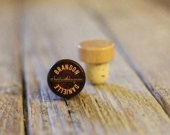 BEST PRICE ** Lot of Personalized Custom Wine Stopper Laser Engraved Cork Bottle Topper Reusable Rustic Wedding Favor --WS-dg-BrandnDanielle