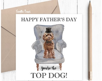 Cockapoo Father's Day Card, Father's Day, Cockapoo Greeting Card, Dog Lover Gift, Cockapoo Lover Card, Cockapoo Brown