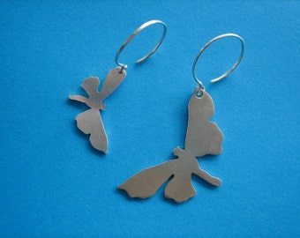 Sterling Silver Moth Earrings