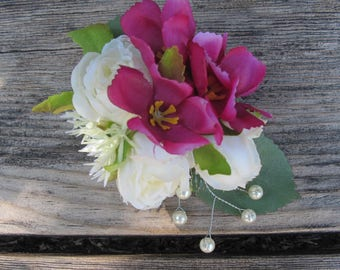 Romantic WHITE  Roses and purple flowers  -  Cluster hair clip -