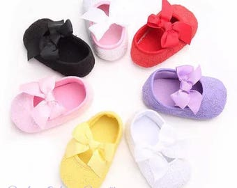 Baptism shoes /christening baby shoes /cotton baby shoes with bows / crib shoes/soft sole baby shoes