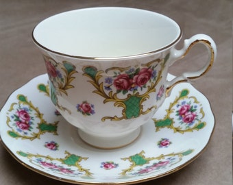 Teacup and Saucer, Queen Anne Bone China, Made in England, Pattern 8513