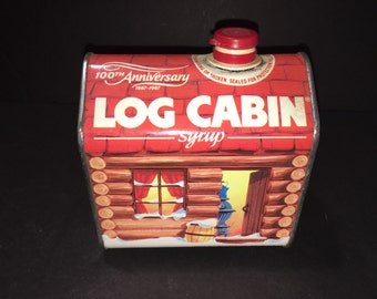 Vintage Log Cabin Syrup Tin 100th Anniversary 1987 Empty