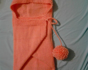 Infant Newborn Swaddle wrap with Hood, Hooded Blanket, Peach color. size  27 x 27