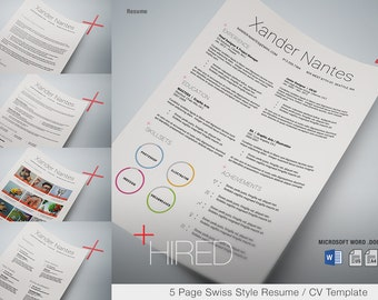 Hired - Microsoft Word Resume Template - Swiss Style 5-Page Resume / CV - Instant Download - Easy to Edit Colors, Text, Photos