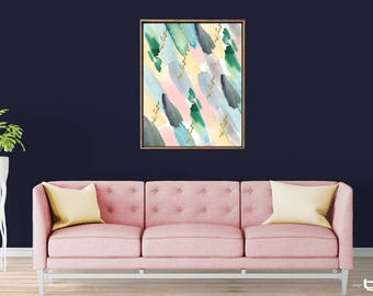 Colorful Abstract Watercolor Painting, Gold Brush Strokes Print, Abstract Watercolor Art, Giclee Abstract Watercolor Print, Abstract Art