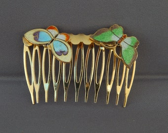 Vintage Hair Comb Enamel Butterflies Gold Tone, Vintage Decorative Hair Comb Diadem, Enamel Butterfly Diadem Hair Comb Summer Wedding