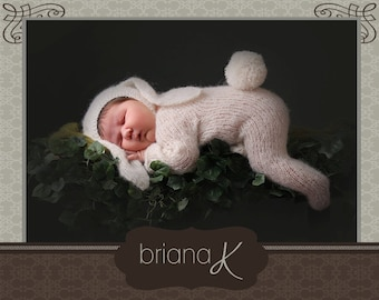 Knit Romper with Bunny Ears PATTERN Instant Download, Newborn Onesie Romper Jammies with Bonnet