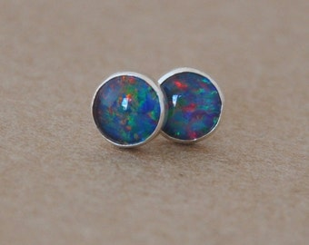 Blue Opal Earrings handmade with Sterling Silver studs. 5mm gemstone and silver earrings, rainbow, colourful,gifts, birthdays, october