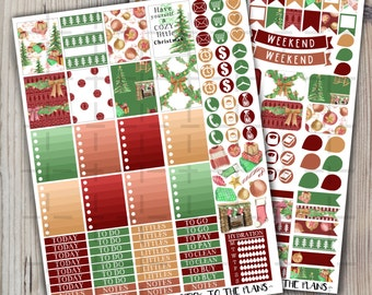Christmas printable planner stickers classic red green christmas weekly kit stocking tree gifts for use with Erin Condren LifePlannerTM