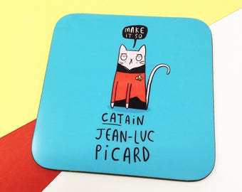 Catain Jean-Luc Picard - Patrick Stewart - Star Trek Coaster - Pun Coaster - Gift for him Jean-Luc Picard - Mat - Katie Abey