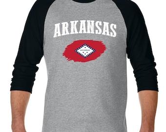 Arkansas State Flag State University of Arkansas Razorbacks Hogs  American Raglan Sleeve Baseball T-Shirt
