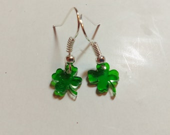Tiny Shamrock Dangle Earrings - handmade- New and never worn! - lightweight and nickel-free