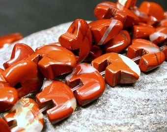 10 Pcs. Red Jasper Zuni Style Bear Fetish Beads small Rust Brick Burnt Orange Gemstone Southwest Totem Animal Utah Desert Petite Mini Gem