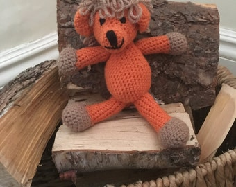 Crochet animal lion handmade in orange and brown with looped mane