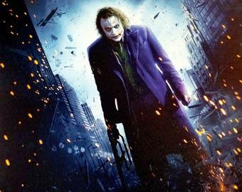 Joker Framed Canvas Print 16x16 Batman Dark Knight Heath Ledger