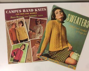 Vintage 1960s Fashion Knit Magazines - Campus Hand Knits - Sweaters Retro How To Magazines
