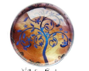 2 cabochons fancy glass Theme tree Ref1-18 mm