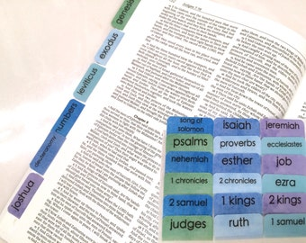 "STANDARD Watercolor ""Sea Glass"" Books of Bible Tabs by Victoria Anderson"