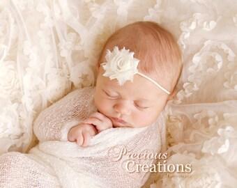 Ivory Baby Headband, MINI Shabby Chic Rose Headband, Infant Headband, Newborn Headband, Children's Headband, Baptism Headband, Christening