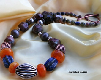 """13"""" Sterling, Lapis Lazuli and Amber Necklace"""