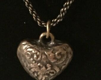 Rustic Necklace, Vintage Inspired, Antique Bronze, Heart,