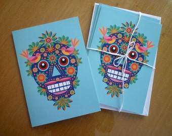 3 Sugar Skull greeting cards pack.  A5 printed on re-cycled paper