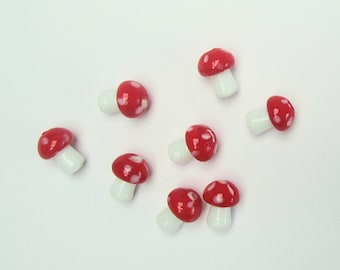 10 handmade lampwork glass red and white toadstool beads -