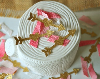 Wild One Birthday Girl Confetti.  Handcrafted in 2-5 Business Days. Tribal Party Decor. Pink and Gold First Birthday.  Arrow Confetti.
