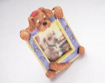 Vintage Dog Photo Frame Magnet Wallet Size Picture Dog Lover Canine Friend Mini Frame Collector Dog Lavender Frame Moon Stars Border Brown