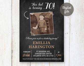 70th Birthday Invitations | Chalkboard Photo collage invitation for women best great grandmother granny nanny mother | DIGITAL!