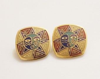 """Vintage Sun Earrings Bu Laurel Burch """"SUN DANCE"""" , Colorful Enamel Earrings"""