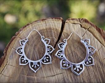 Silver Earrings. Lotus Flower. Hoop earrings. Ethnic style. Tribal Jewelry. Boho. Tribal earrings. Gypsy