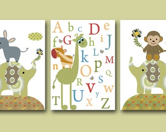 Art for Children Kids Wall Art Baby Boy Room baby Decor Baby Nursery Decor Baby Boy Nursery Prints set of 3 Print Kids Room Alphabet