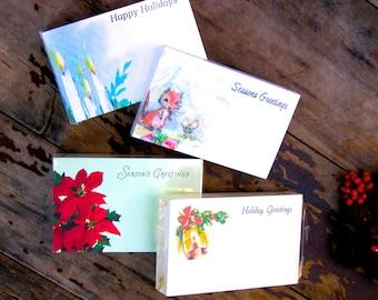 Vintage Christmas Ephemera, Florist Gift Cards, Set of 4 Floral Gift Tags,  Scrapbooking, Journaling Tags, Seasons Greetings - Set 1