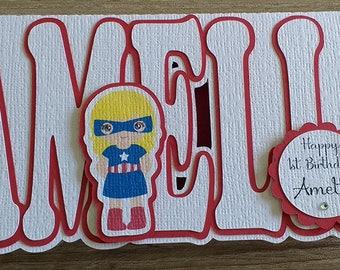 Super Hero Name Shaped Birthday Greeting Card