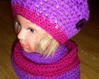 Set hat and Snood purple/pink color