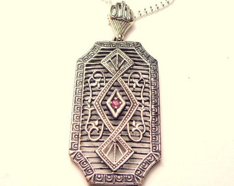 Vintage,Sterling Silver, Victorian Era, Silver Filigree Necklace, Ruby Necklace, Vintage Jewelry