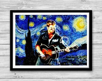 George Michael Art Print Starry Night Reproduction of Van Gogh Starry Night, George Michael Cotton Canvas Print, arrested development