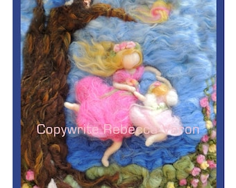 """Printed Note Card - """"My Daughter and I Dance with Joy"""" -image from wool painting  Waldorf Inspired printed greeting card"""