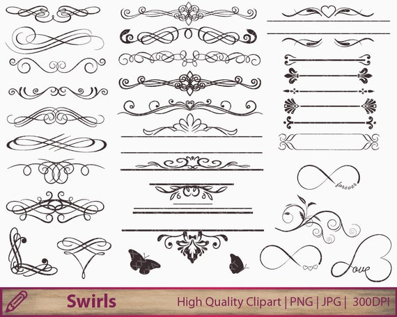 Free Clipart For Wedding Invitations: Wedding Invitation Swirls Clipart Flourish Clip Art