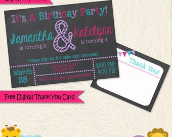 Combined Party Ideas, Dual Party, Shared Party, Sisters Birthday, Twins Invitation Sisters Joint Party Invitation, Siblings Invitation, 034d