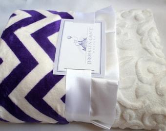Purple and White Chevron Minky Cuddle Blanket