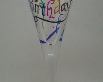 Happy Birthday Hand Painted Glass