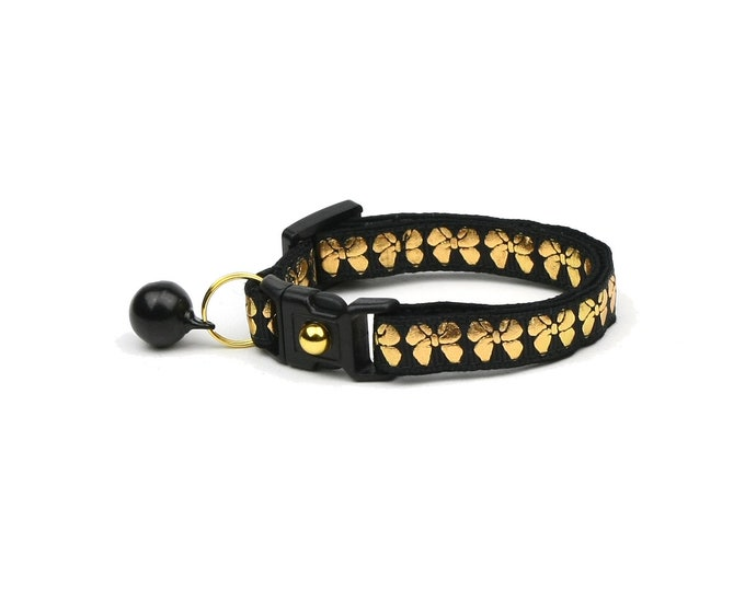 Bow Cat Collar - Gold Bows on Black - Small Cat / Kitten Size or Large Size