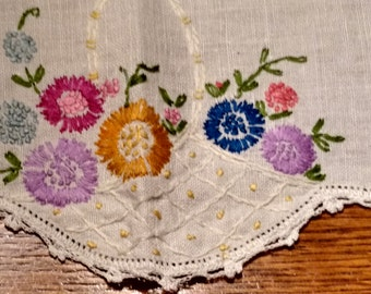 Stunning Vintage Table Topper /  Hand Embroidered Doily / Crocheted Doily / Mid-Century Linens Retro Textiles