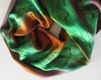 Green Silk Scarf, Hand Painted Green Silk Scarf, Brown Silk Scarf, Hand Painted Silk Scarf, Hand Painted Brown Silk Scarf, One Of A Kind
