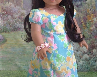 Aloha Holoku Hawaiian Dress and Bracelet for American Girl Dolls