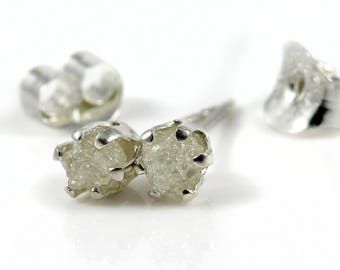 Rough Diamond Stud Earrings on Silver - 3.5 mm Ear Studs - White Uncut Raw Diamonds - April Birthstone
